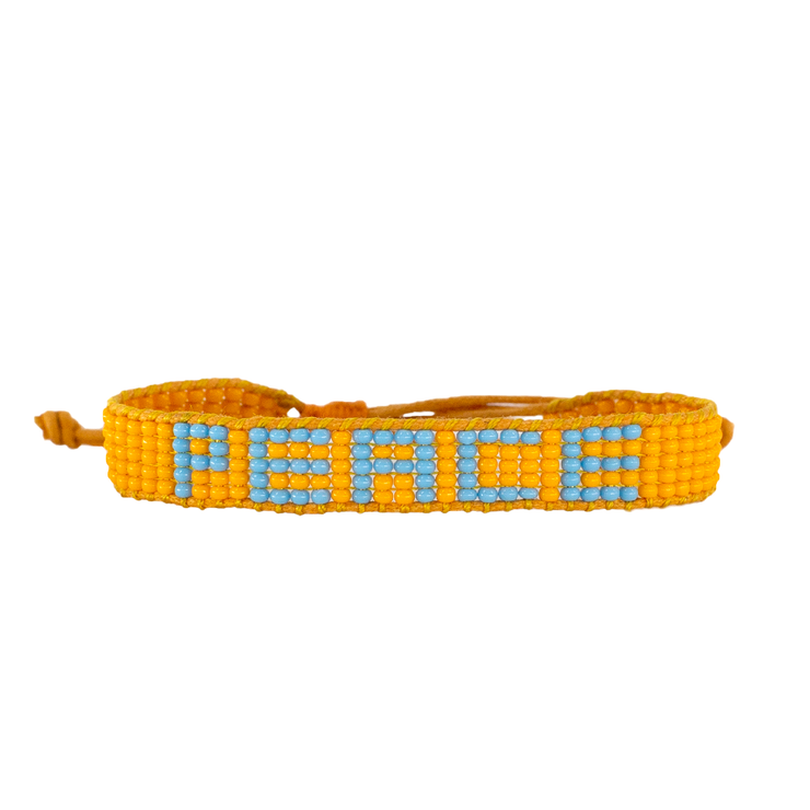 Orange / Blue PEACE Woven Bracelet