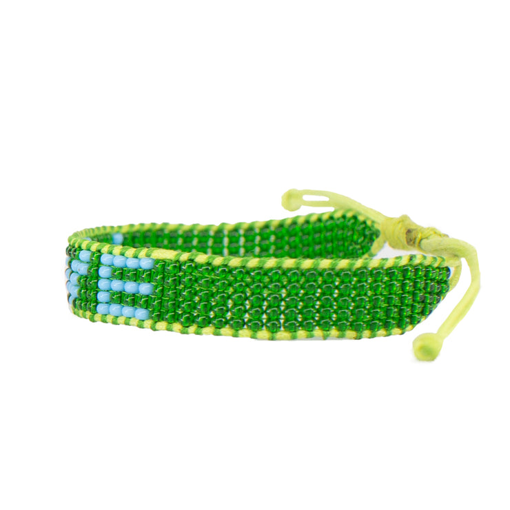 Green / Light Blue LOVE Woven Bracelet