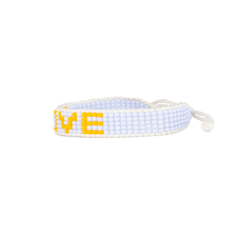 Light Blue / Yellow Love Woven Bracelet