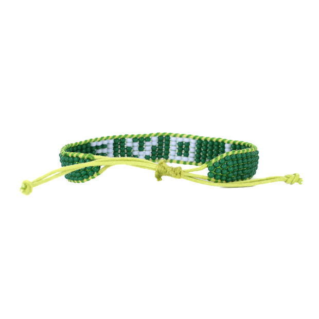 Jungle Green / Light Blue LOVE Woven Bracelet