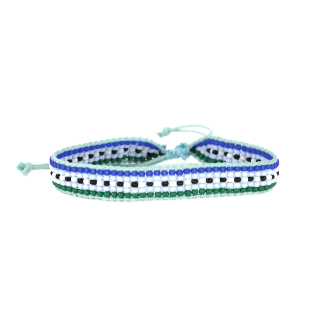 Light Blue Striped Woven Bracelet