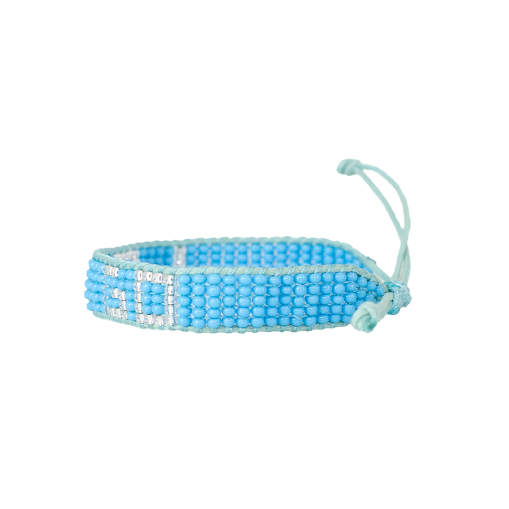 Light Blue / Silver LET GO Woven Bracelet