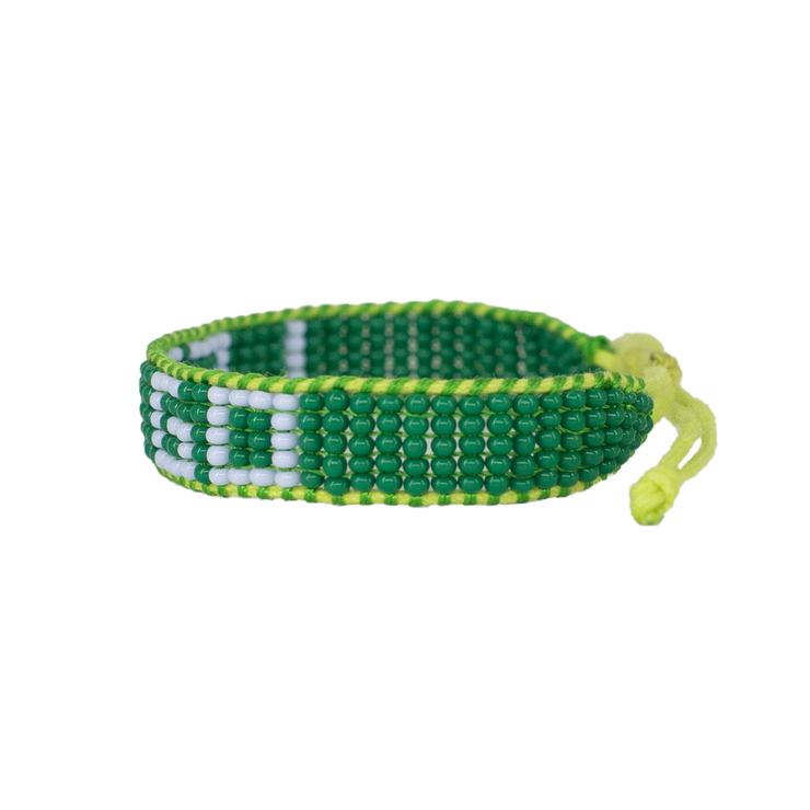 Green / Light Blue LET GO Woven Bracelet