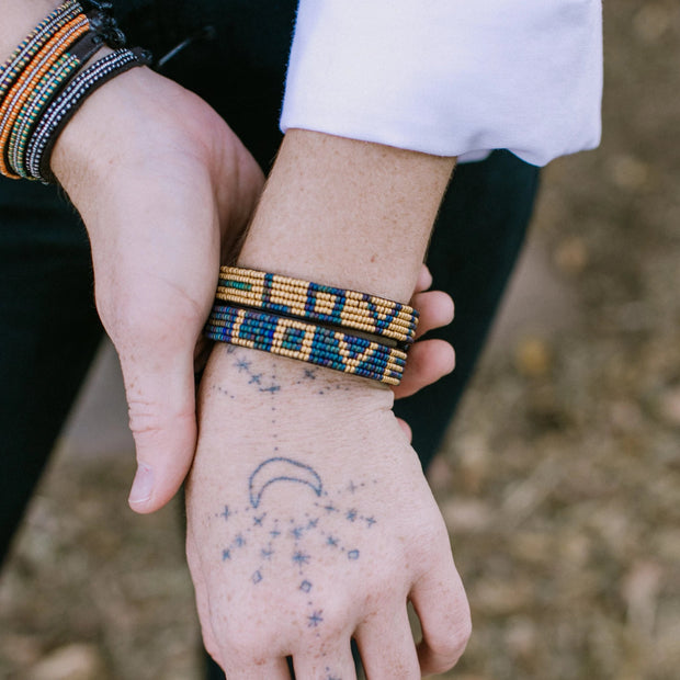 Navy and Gold Love Bracelet