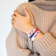 Red / Blue Stripe Woven Bracelet