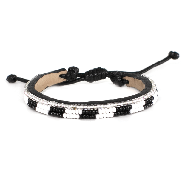 Black and White Striped Skinny Mstari Bracelet