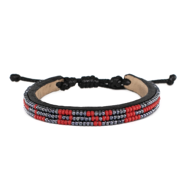 Gunmetal and Crimson Skinny Love Bracelet
