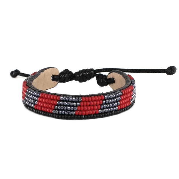 Gunmetal and Crimson Mstari Bracelet