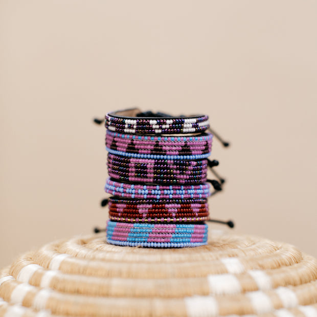 Purple and Dark Purple Piramidi Bracelet