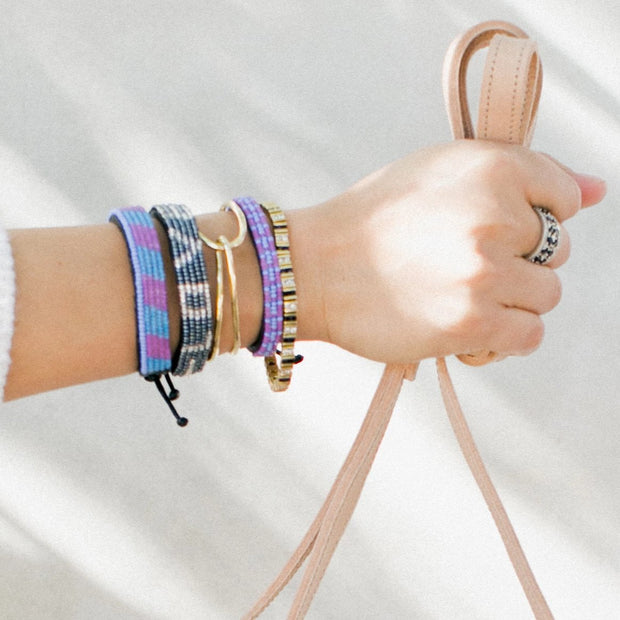 Purple and Light Blue Mstari Bracelet