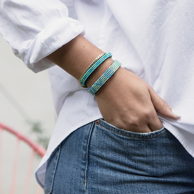 Pale Blue and Iridescent Turquoise LOVE Bracelet 1