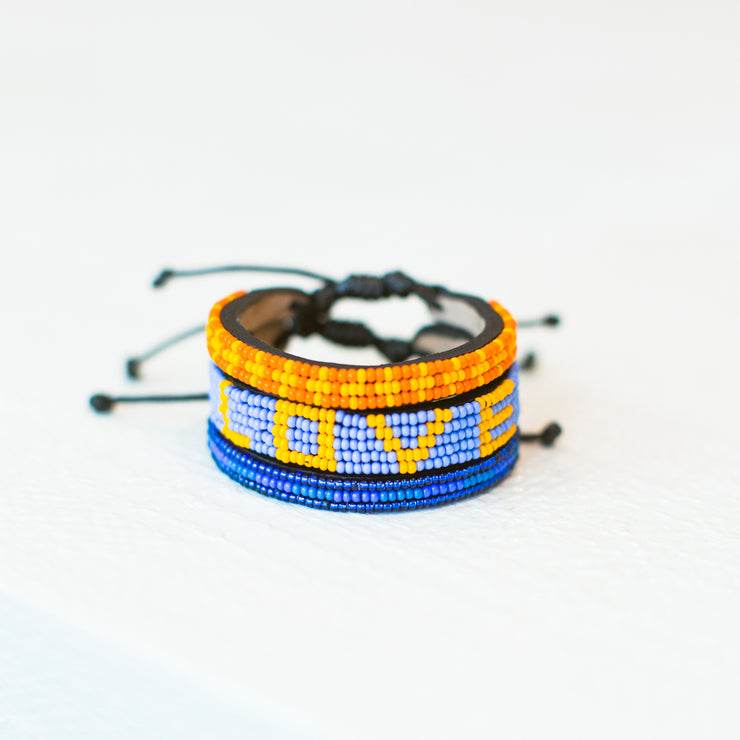 Light Blue and Light Orange LOVE Bracelet
