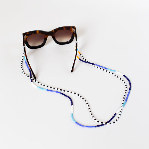 Beaded Sunglass Holder - Blue Blocked