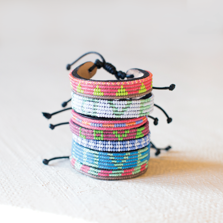 Summer Pink and Lime Green Piramidi Bracelet