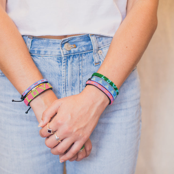 Summer Pink and Periwinkle Nija Bracelet