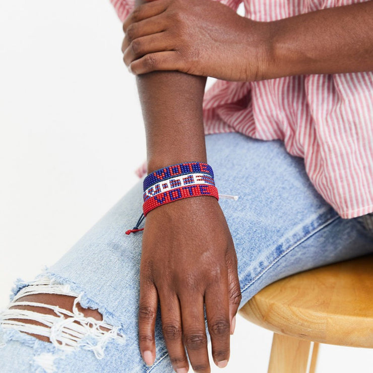 Navy / Red VOTE Woven Bracelet