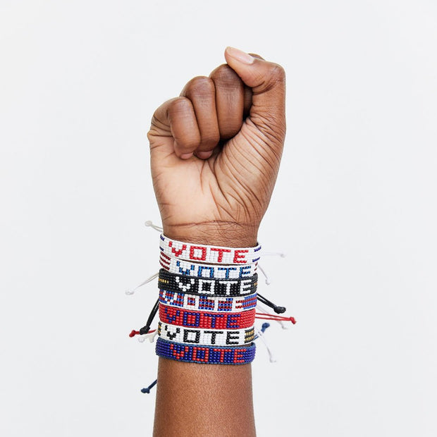 White / Multi Red and Blue VOTE Woven Bracelet