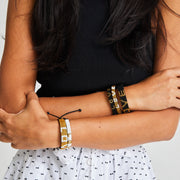 Gold and White Skinny LOVE Bracelet