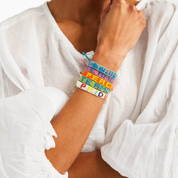 Light Blue JE T'AIME Woven Bracelet