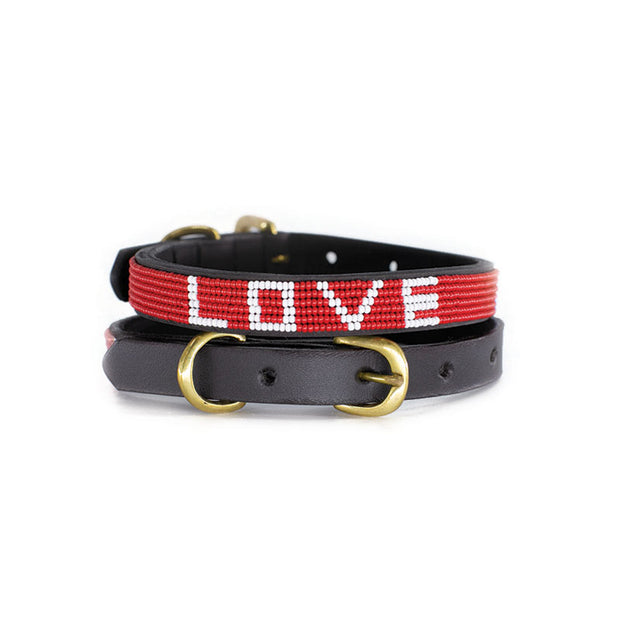 (UBUNTU LIFE)RED Love Dog Collar