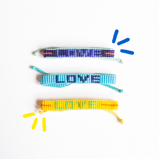 Yellow / Green  LOVE Woven Bracelet