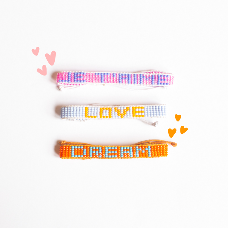 Orange / Light Blue DREAM Woven Bracelet