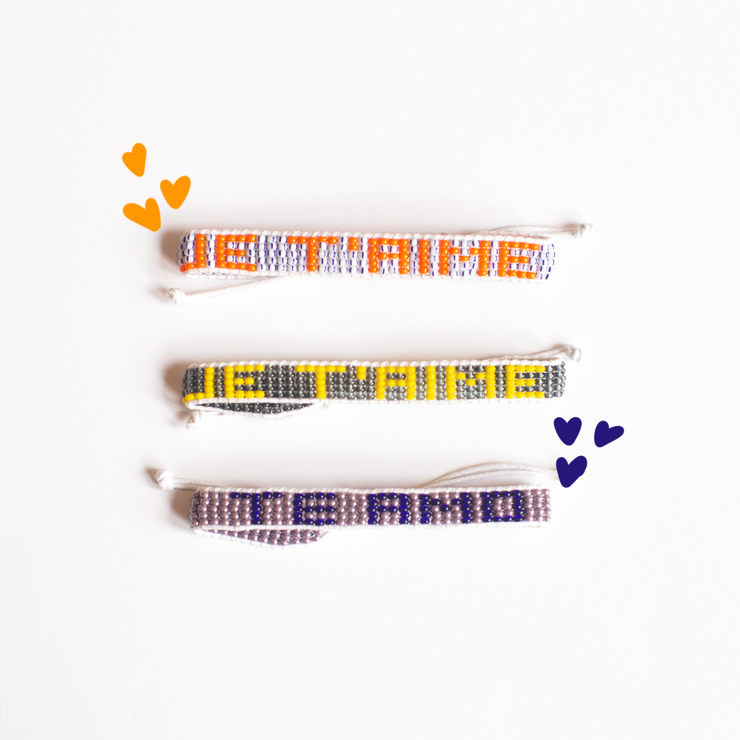 Stripe / Orange JE'TAIME Woven Bracelet
