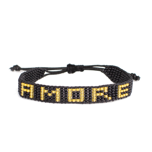 Woven Black and Gold AMORE Bracelet