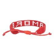 Woven Red and White AMORE Bracelet