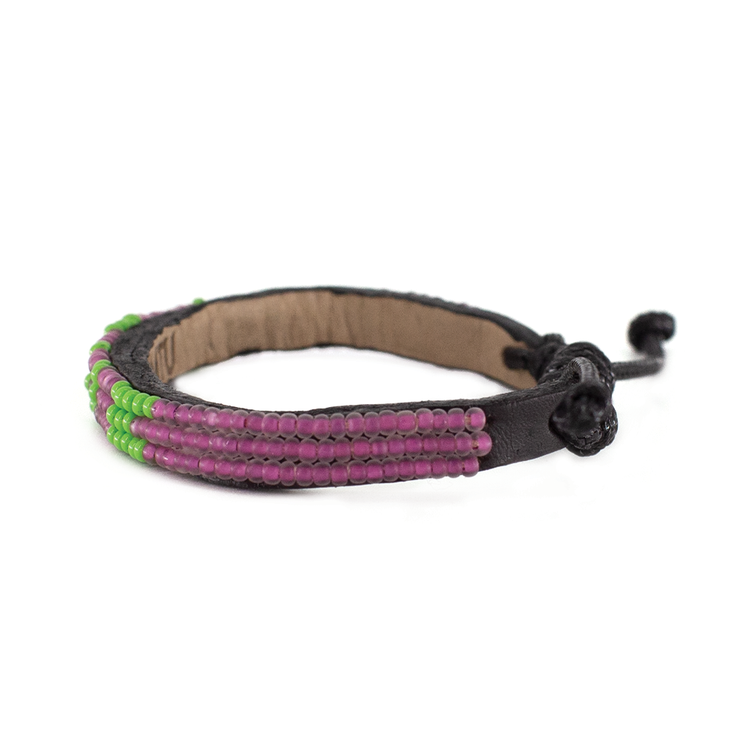 Raspberry Pink and Lime Green Skinny LOVE Bracelet