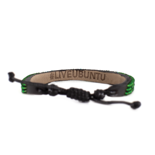 Translucent Green and Light Blue Skinny LOVE Bracelet