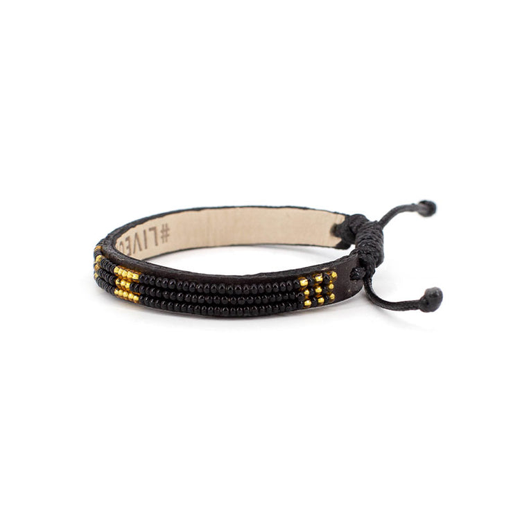 Black and Gold Skinny LOVE Bracelet