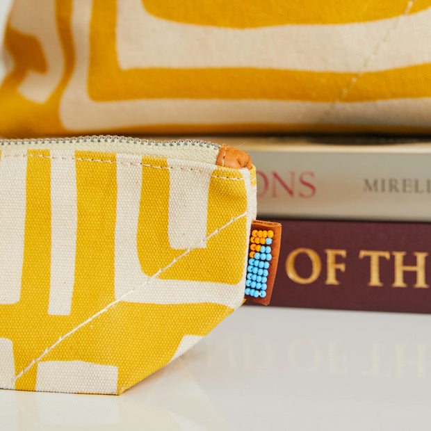 Small Pouch in Mustard & Eggshell