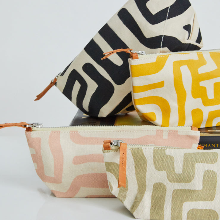 Large Pouch in Mustard & Eggshell