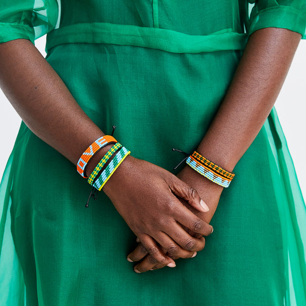 Green and Yellow Msalaba Bracelet