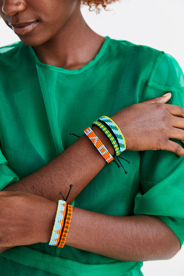 Orange and Green Msalaba Bracelet