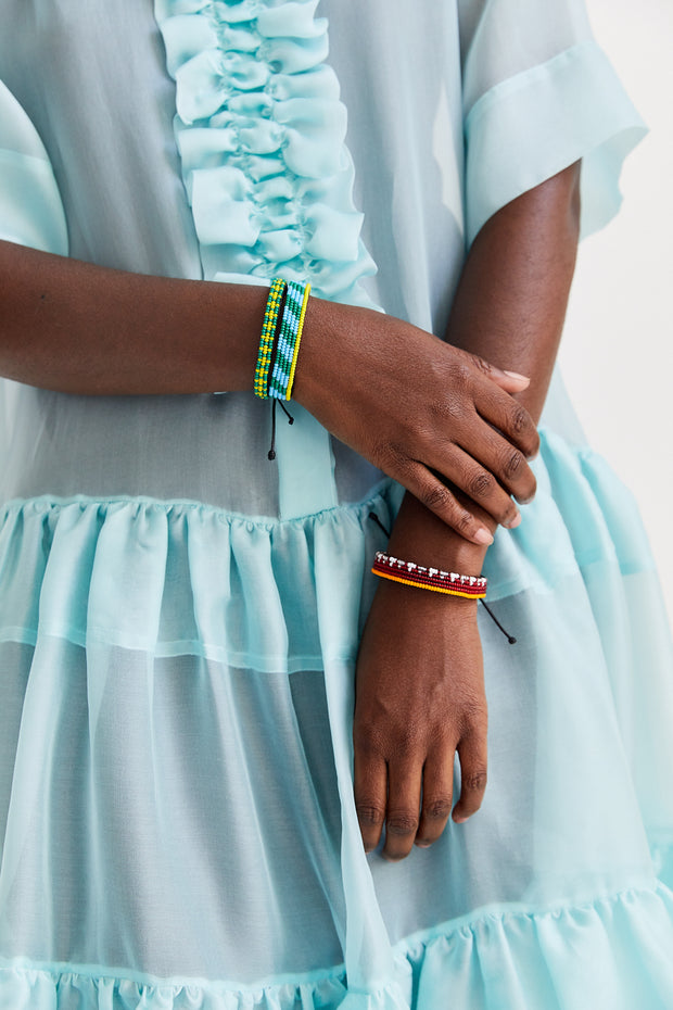 Light Blue and Green Mstari Bracelet