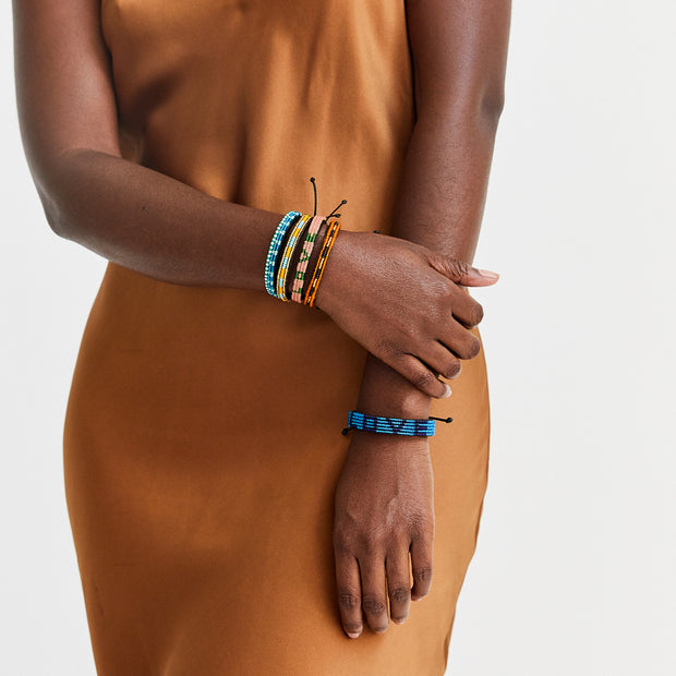 Gold / Orange & Turquoise Nija Bracelet
