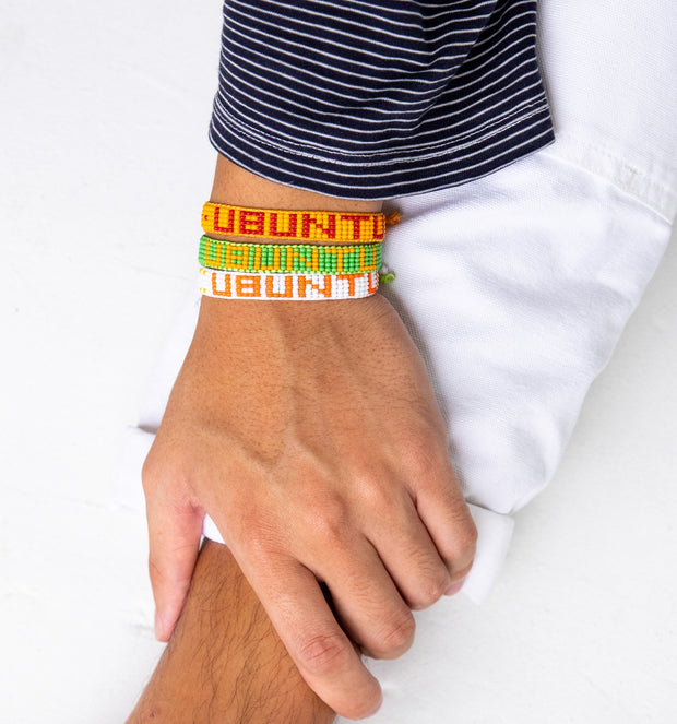 White / Orange UBUNTU Woven Bracelet
