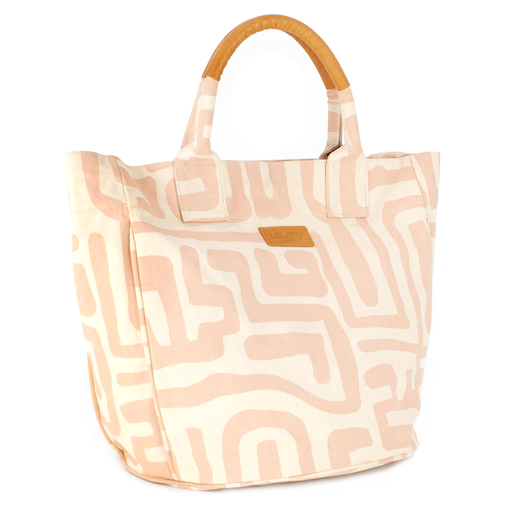 Beach Bag - Dusty Rose & Eggshell