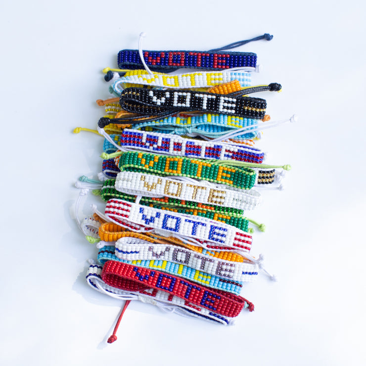 Red / Navy VOTE Woven Bracelet