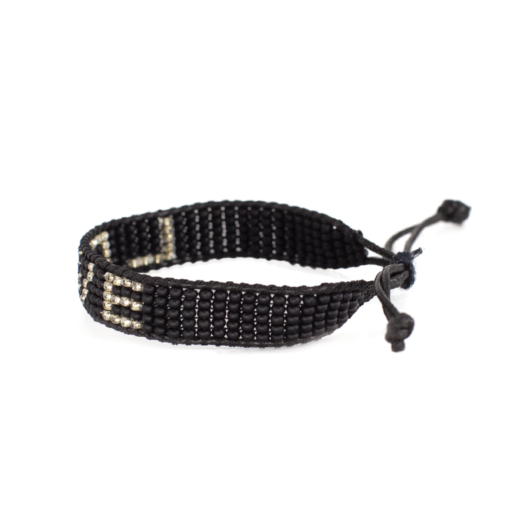Black / Gold LOVE Woven Bracelet