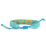 Turquoise / Orange LOVE Woven Bracelet