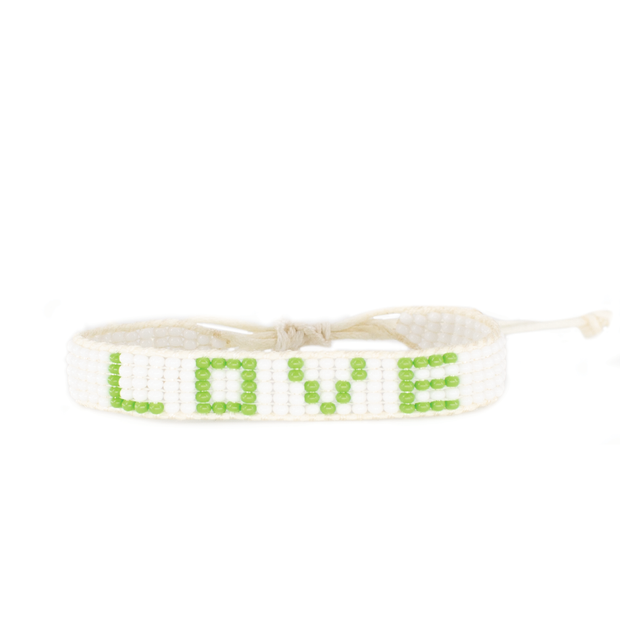 White / Lime Green Love Woven Bracelet