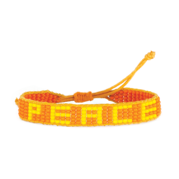 Orange / Yellow PEACE Woven Bracelet