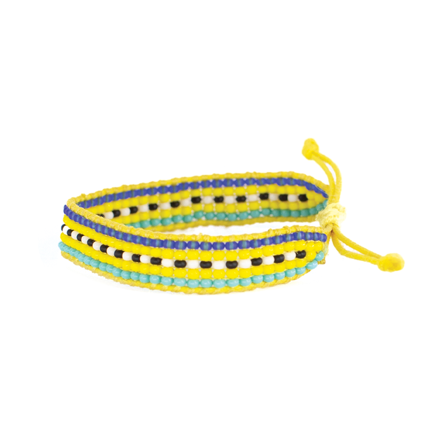 Yellow Linear Pattern Woven  Bracelet