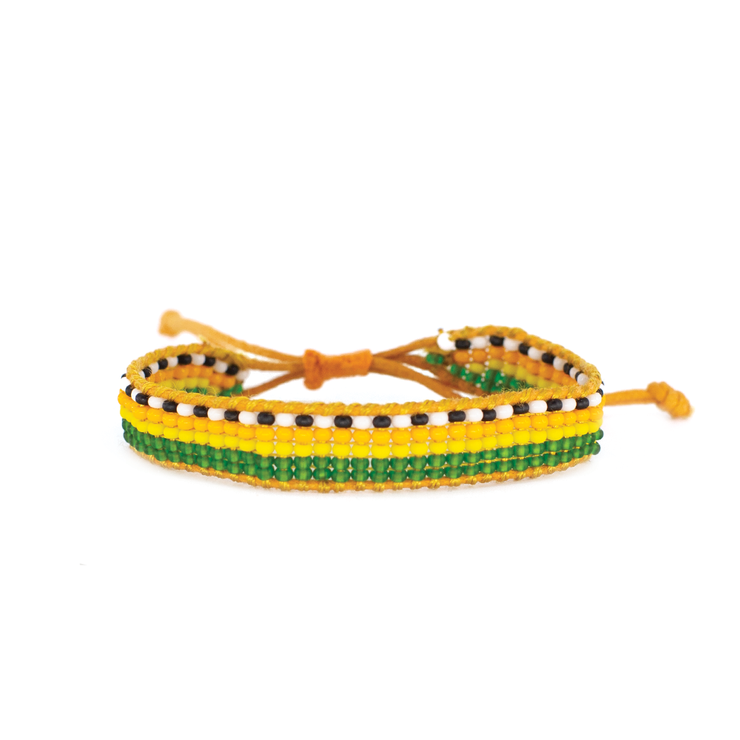 Multi / Orange Pattern Woven Bracelet