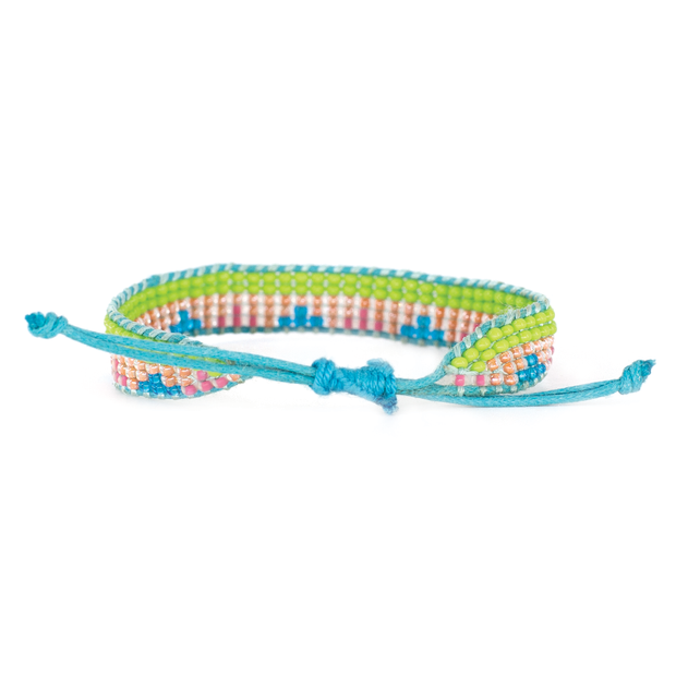 Lime Green/ Turquoise Triangle Woven Bracelet