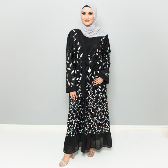 BLACK EMBROIDERED LEAF ABAYA