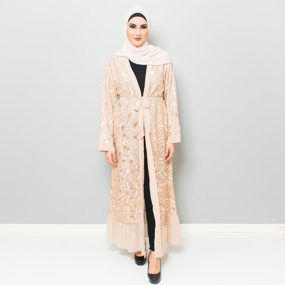 GOLD EMBROIDERED LEAF ABAYA